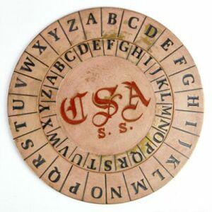 Replika Albertiho šifrovacího disku z výzbroje Konfederace (americká občanská válka). Vyrobena podle originálo z roku 1862